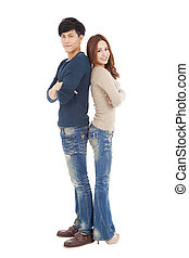 full length young couple standing together