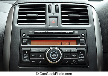 Car radio panel - Modern car interior - radio panel