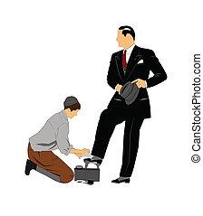 shoeshine boy  - vintage shoeshine boy shining shoes of man