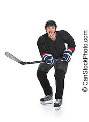 Happy hockey player is happy Celebrating the victory