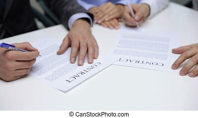 businessmen signing a contract - business and office, legal...