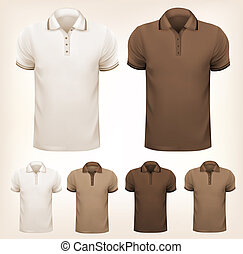 Retro set of colorful men t-shirts. Design template. Vector illustration