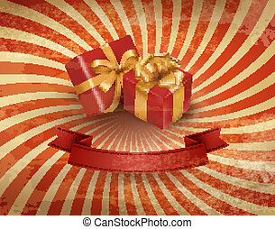 Vintage holiday background with two red gift boxes. Vector illustration.