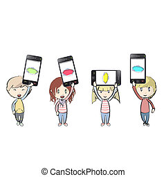 Kids holding Phones with colorful holes. Vector...