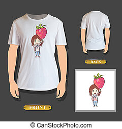 Kid holding strawberry printed on t-shirt. Vector design.