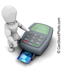 3D credit card payment - 3D man making a credit card payment...