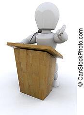 3D Public speaker - 3D public speaker isolated over a white...