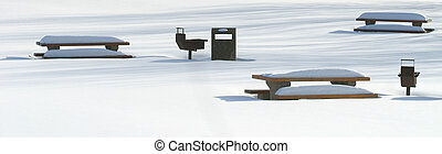 snow covered picnic tables - snow covered tables in...