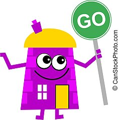 go house - Mr house holding a green go sign isolated on...