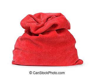 red santas bag from velvet fabric, isolated on white
