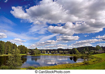 Sky reflexion in lake - Picture taken in EstoniaEurope
