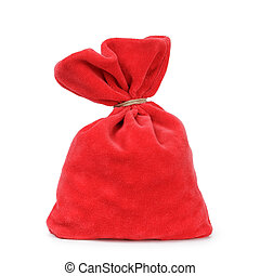 red santas bag from velvet fabric tied with rope, isolated...