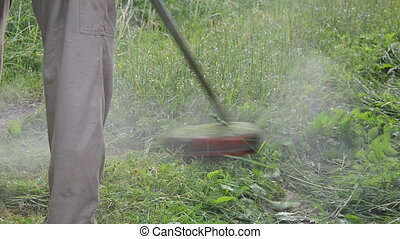 worker mow wet grass - worker gardener mowing grass with...