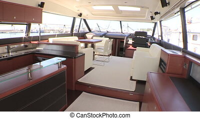 Salon and kitchen on luxury boat