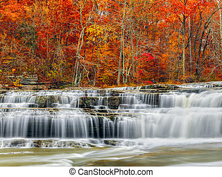 Autumn at Upper Cataract Falls - Whitewater pours over rock...