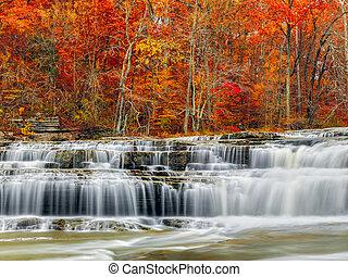 otoño, superior, catarata, bajas