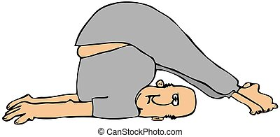 Man stretching - This illustration depicts a man wearing...