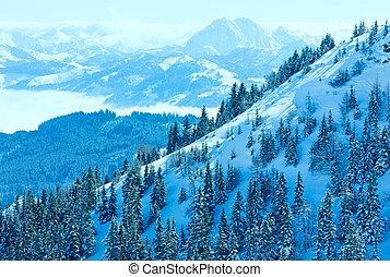 Winter misty mountain landscape - Winter mountain landscape...