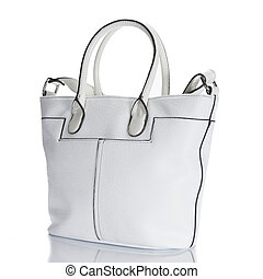 Woman's handbag white color,  isolated over white
