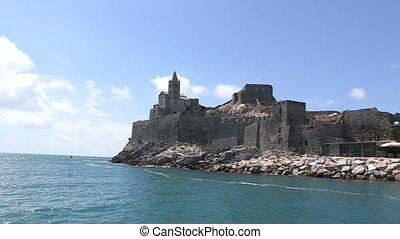Portovenere seen from a boat
