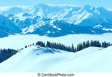 Cloudy sunny winter mountain landscape - Morning winter...