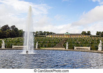 view of the Sanssouci Palace, Potsdam, Germany - view from...