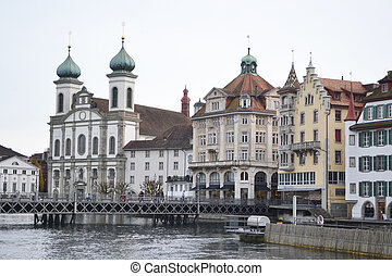 Lucerne, Switzerland. - View of the center of Lucerne,...