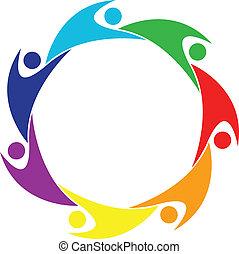 Vector of happy swooshes logo - Teamwork happy 7 people...