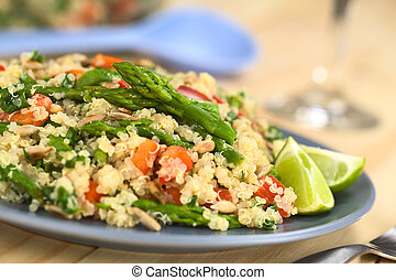 Quinoa with Asparagus and Bell Pepper - Vegetarian quinoa...