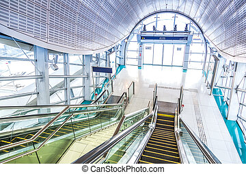 Automatic Stairs at Dubai Metro Station - DUBAI, UAE -...
