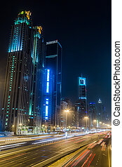 Dubai Dowtown at ngiht, United Arab Emirates - DUBAI, UAE -...