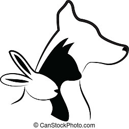 Cat dog and rabbit silhouettes logo - Cat dog and rabbit...