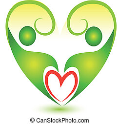 Heart team logo - Green teamwork heart