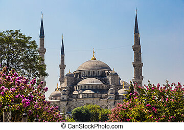 The Blue Mosque, (Sultanahmet Camii), Istanbul, Turkey -...