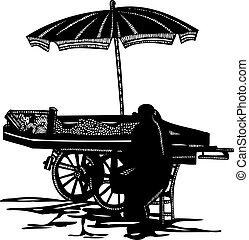 Fruit and Veg Cart Vendor Vector - Isolated vector ink...