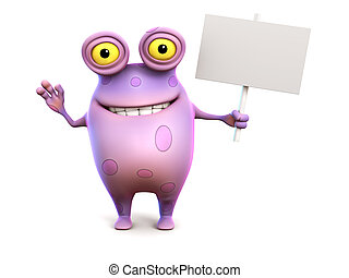A pink spotted monster holding sign. - A smiling cute...