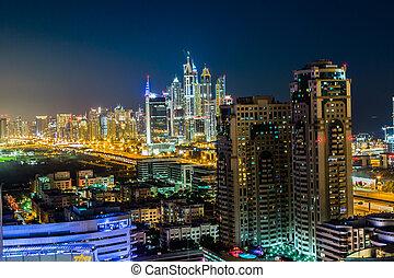 dubaï, centro cidade, leste, unidas, árabe,...