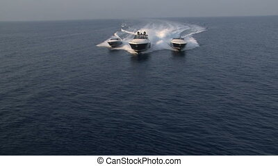 Aerial view of luxury boats sailing