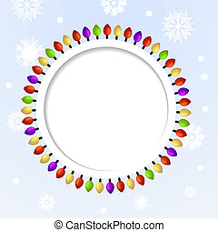 Round abstract background with Christmas lights