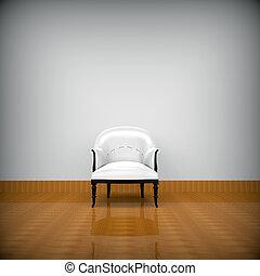 White sofa alone in quiet room - white sofa alone in quiet...