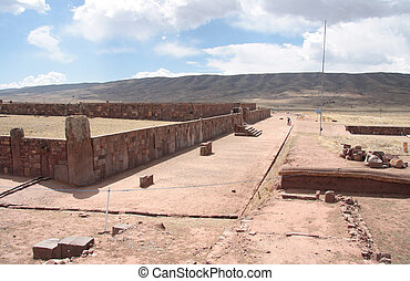 kalasasaya, templo,  tiwanaku, Ruinas