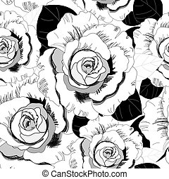 pattern of roses - Seamless graphic pattern of roses