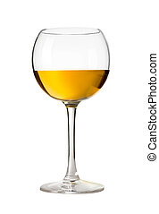 Wineglass with white wine Concept and idea