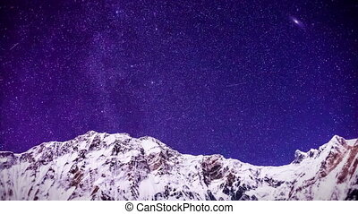 snow mountain and stars - time lapse