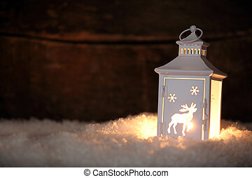 Glowing Christmas lantern shining in the night - Christmas...