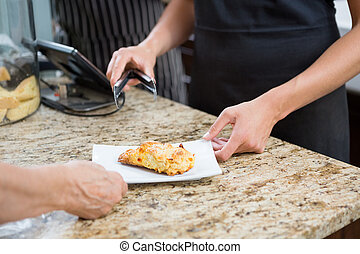 Waitress Serving Sweet Food To Woman - Midsection of...