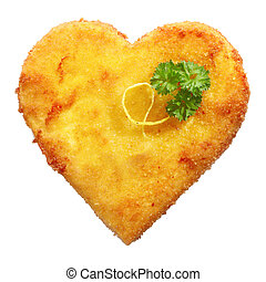Fried Schnitzel in heart shape, decorated, on white -...