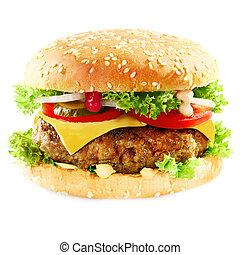 hambúrguer, contendo, carne, coberto, queijo, branca