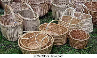 Newly weaved baskets are lined up and is ready for pick up...