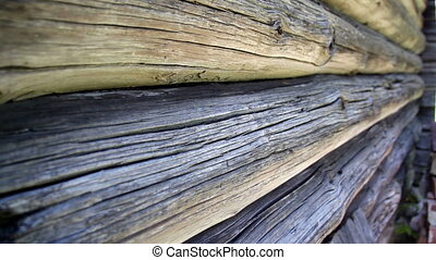 Closer image of the old historic cabin log house - Closer...